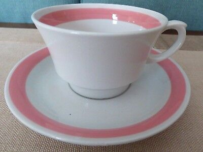 Finland Ribbons - ARABIA Pottery Finland RIBBONS PINK Tea cup and Saucer Mid Century