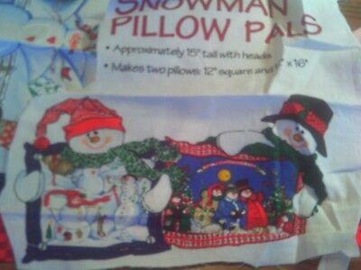 1 Yd Vtg Christmas Snowman Soft Sculpture 2 Pillows Fabric Panel Cut Out - Snowman Cut Out