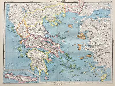 1951 Large Antique Map Of Greece & The Aegean J G Bartholomew