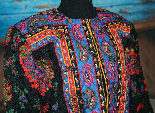 Carlisle 12 Floral Embroidered Multicolor Long Blazer Quilted Jacket Boho Roses