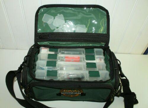 Vintage CABELAS tackle bag fly fishing bag green canvas