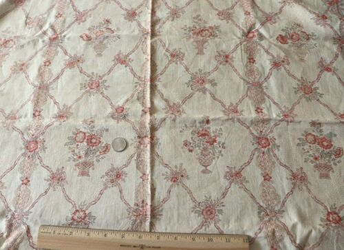 """Antique c1920 Country French Linen Floral & Basket Fabric~L-29""""X W-32.5"""""""