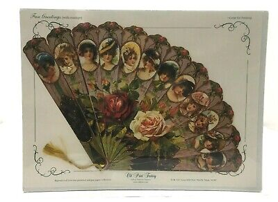 Vintage Inspired Victorian Paper Fan Greeting Card Old Print Factory Beauty  - Paper Factory Greeting Cards