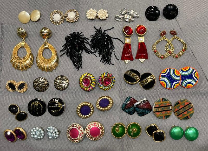 Huge Lot 25 Vintage ,Large, Statement , Gold & Silver Tone Clip Pierced Earrings