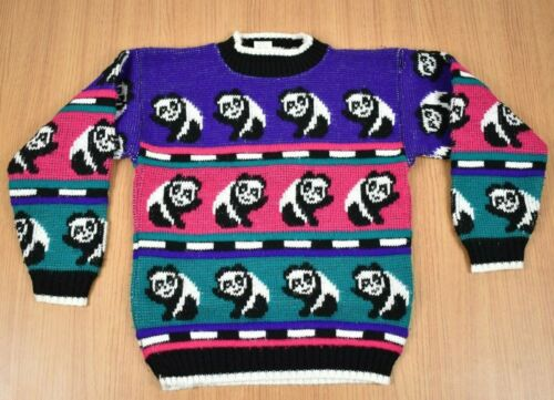 Vintage 80s Pink Girls Panda All Over Sweater Sz 4-5