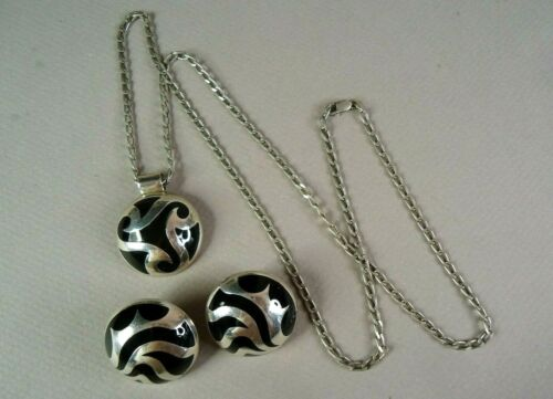 Spectacular Sterling Silver & Onyx Clipon Earrings & Necklace Set, Taxco, Mexico