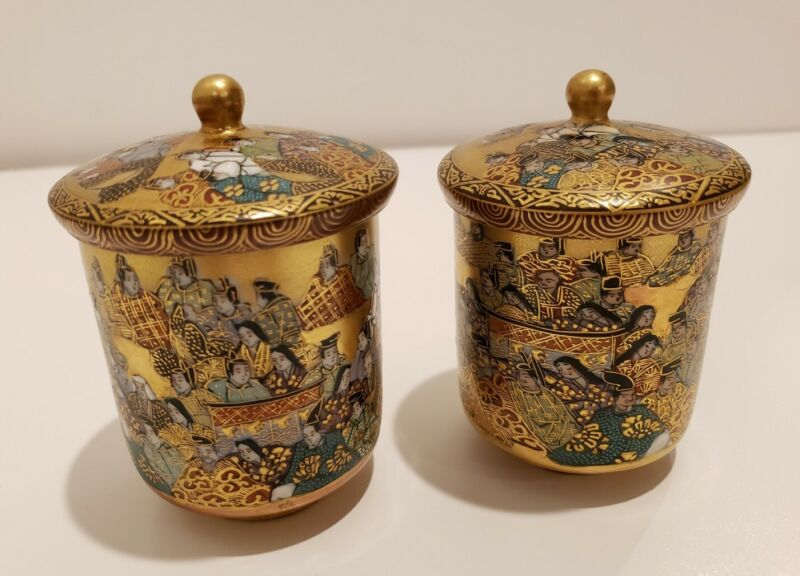 Antique Japanese Kutani Wedding Cups with Lids , Inside Calligraphy Writing