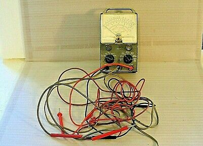 Vintage Heathkit Model V-7A Vacuum Tube Voltmeter with Cables