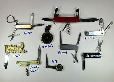 Vintage Pocket Knife LOT Advertising Novelty Train Boy scout-type Unusual Key