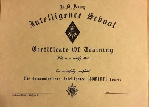 U. S. ARMY. Intelligence School Certificate . Comes Blank Fill In Own Info.  - $5.99