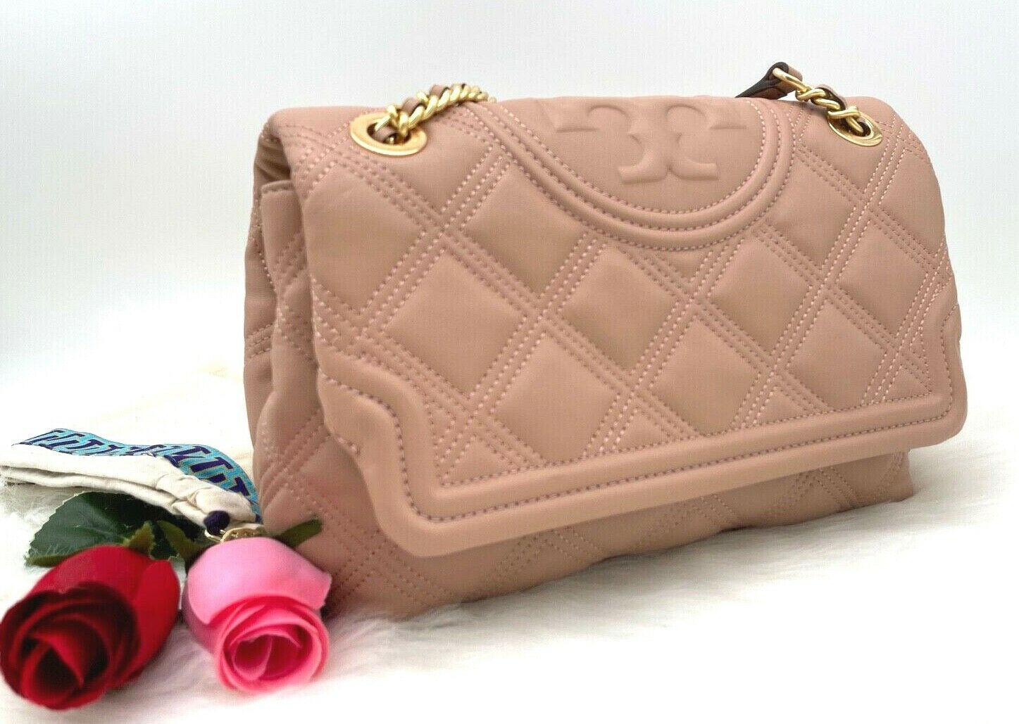 AUTH NWT 528 Tory Burch Fleming Quilted Soft Leather Convertible Shoulder Bag