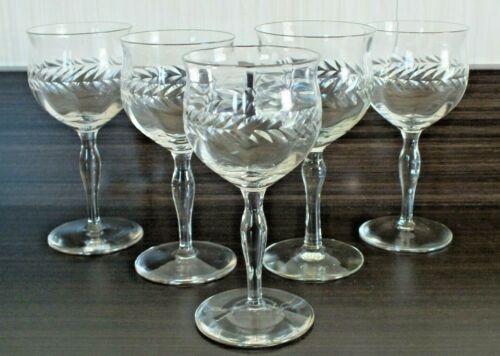 "Antique Wheel Cut Liquor glasses 5.5"" Tall set of 5"