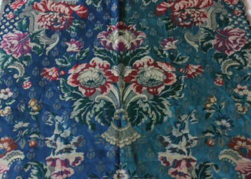 "Antique French c1920 Jacquard Home Dec Frame Sample Fabric~Metallic~27""X25"""
