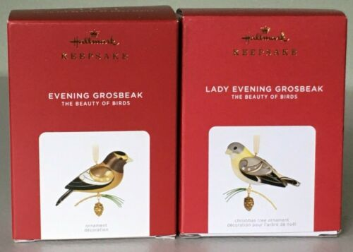 Hallmark Beauty of Birds Ornaments EVENING GROSBEAK #17 & LADY EVENING GROSBEAK