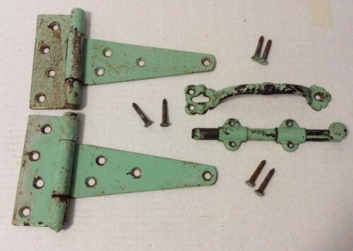 Vintage Gate Shed Hardware, Hinges, Lock & Handle Old Green Paint