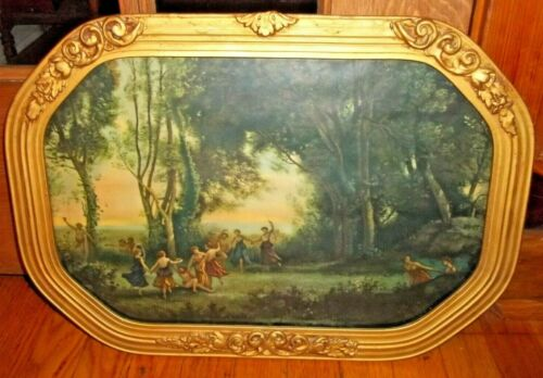 ANTIQUE 19th Century GOLD  Wood & Gesso  FRAME Nymph Print
