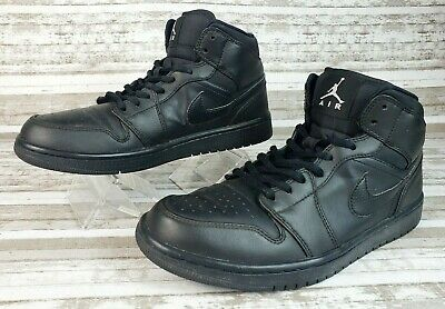 Nike Air Jordan 1 Mid All Black Retro Mens Basketball Shoes Sz 8.5 (554724-034)