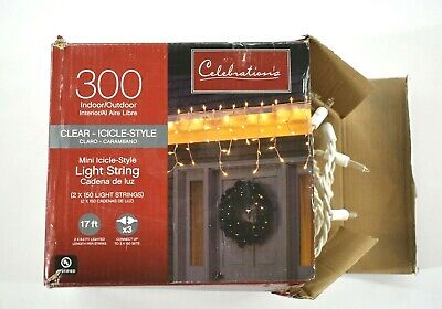 Celebrations 300 Indoor Outdoor Clear Icicle Style Light String 17' XMAS Lights