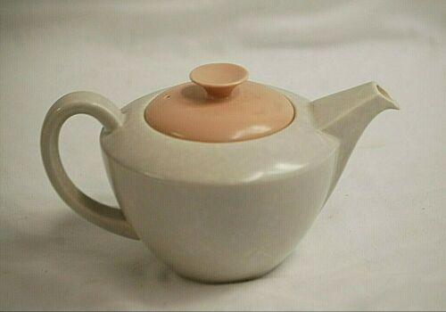 Vintage Poole Pottery England Twintone Teapot w Lid C97 Hand Made & Decorated