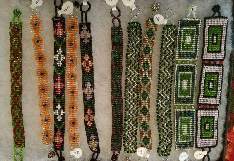 Lot of 11 Bead Huichol Bracelets, Bracelet, Ingenous, Mexico, Huicholes