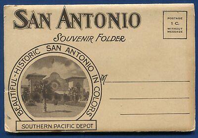 San Antonio Texas tx Alamo Plaza Southern Pacific Depot postcard folder  for sale  San Antonio
