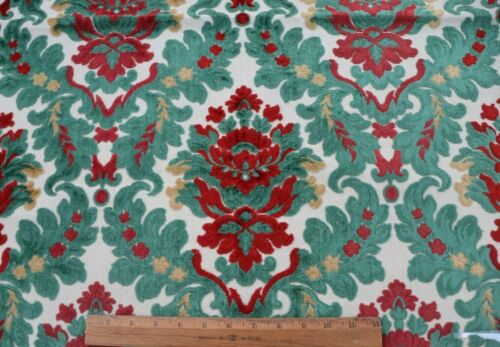 "Vintage c1930-1940s French Cut Cotton Velvet Red & Green Fabric~L-30"" X W-26"""