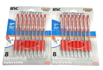 2 Packs 16 Pens Inc Clipclicks Comfort Grip Retractable Red Ink 1.0mm