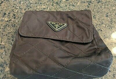 PRADA Brown Quilted Nylon Crossbody Bag with Gold & Brown Leather Strap Vintage