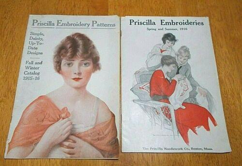 2 Priscilla Embroidery Patterns Catalog Lot, 1915-1916 Winter, 1916 Summer