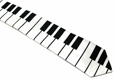 - New Black and White PIANO KEYBOARD MUSIC ROCK PUNK TIE Necktie
