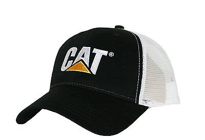 Caterpillar CAT Equipment Black & White Twill Mesh Snapback Cap/Hat