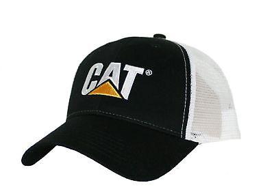 Caterpillar CAT Equipment Trucker Black & White Twill Mesh Snapback Cap (Black And White Trucker Hat)