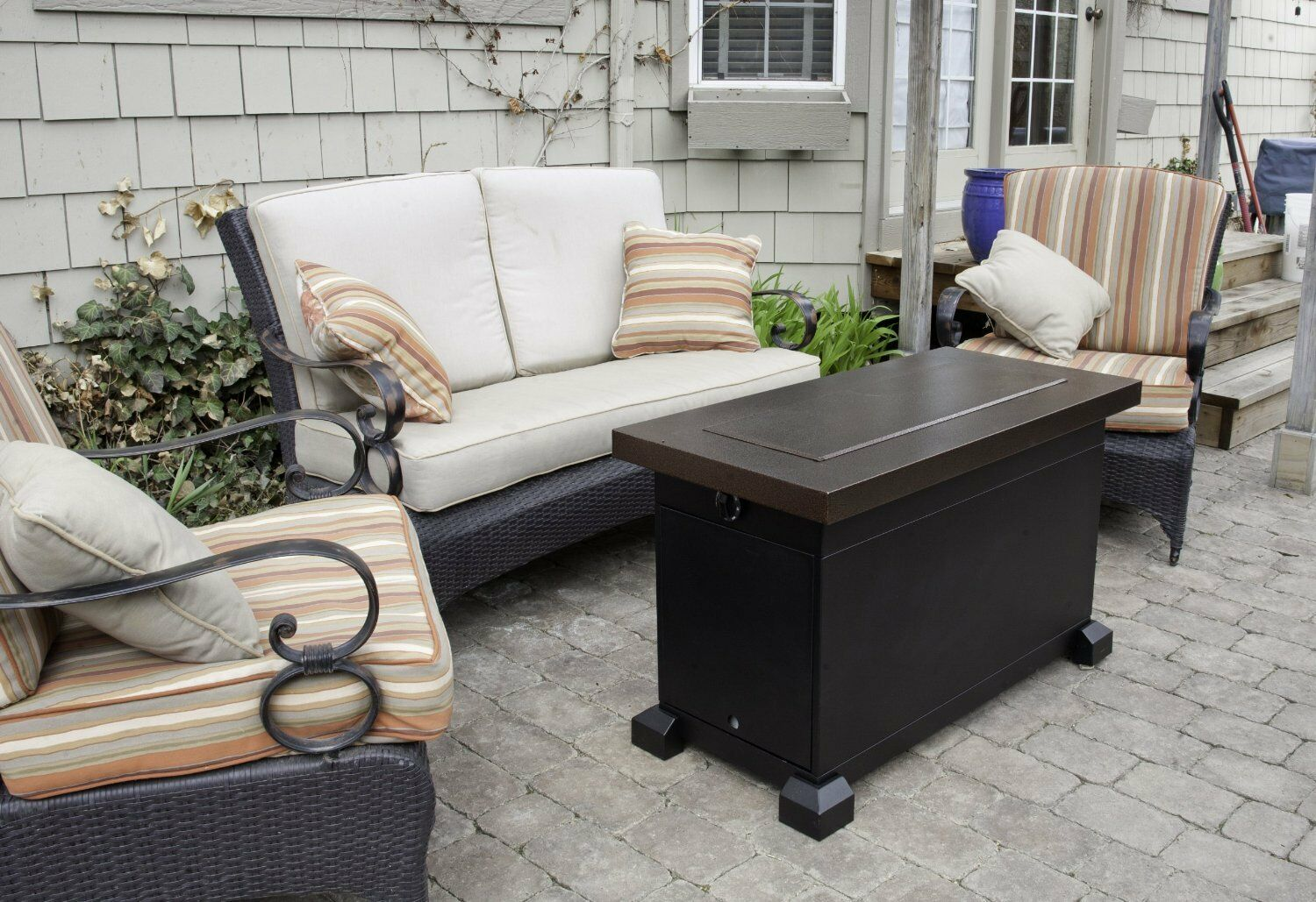 Propane Fire Pit Table Top Outdoor Patio Fireplace Decorativ