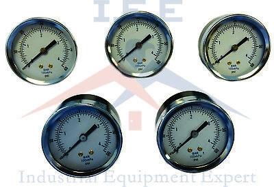 5 Pc 18 Npt Air Compressor Hydraulic Pressure Gauge 0-60 Psi Back Mount 1.5