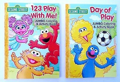 Lot of 2 SESAME STREET Jumbo Coloring and Activity Books for Children Boys - Sesame Street Coloring Books
