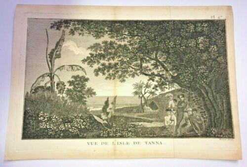 NEW HEBRIDES VANUATU TANNA 1777 JAMES COOK LARGE ANTIQUE VIEW 18TH CENTURY