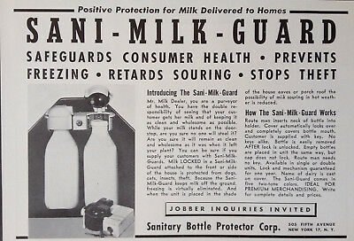 VINTAGE 1951 AD {XX21}~SANITARY BOTTLE PROTECTOR CORP. NYC. MILK GUARD