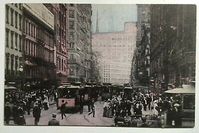 NY Postcard NYC New York City Broadway trolleys streetcars stores (Broadway New York Store)