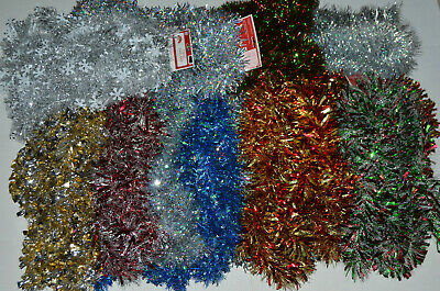 Christmas Tree Wreath (Holiday Time Christmas Tree Tinsel Garland Wide Thick 15 Ft/15' *YOU PICK)