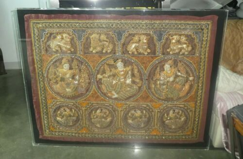 LARGE ANTIQUE THAI KALAGA EMBROIDERED TAPESTRY