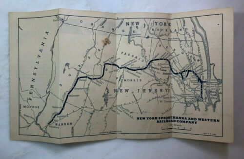 1960 NEW YORK SUSQUEHANNA & WESTERN RAILROAD Company MAP Vintage