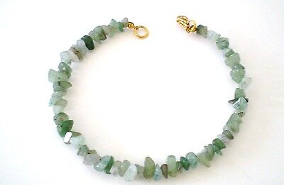 Anklet Green Aventurine Stone Beads Gold Plated 10 in GB Handmade USA New