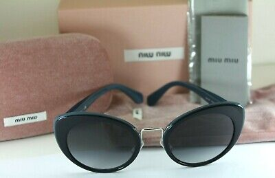 NEW AUTHENTIC MIU MIU SMU 06T TMY-5D1 Blue & Silver Cat Eye Sunglasses NIB