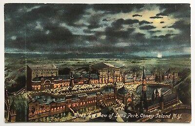 1907 NY Postcard Coney Island Brooklyn Birds eye view of Luna Park nighttime
