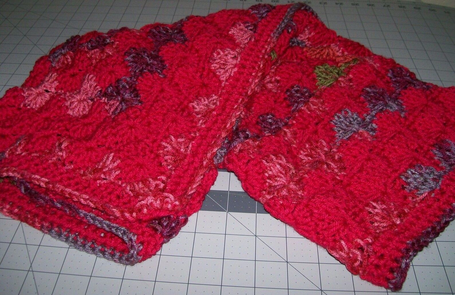 baby receiving blanket red crocheted a1