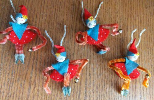 4pc Old Spun Cotton~Chenille Pipe Cleaner Bend~Merc Balls~STRAWBERRY Pixie Elf