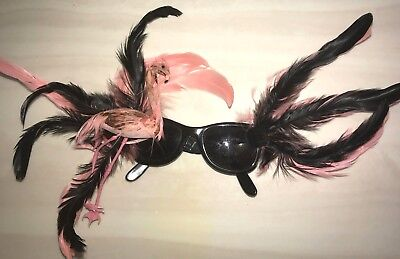 women's black SUNGLASSES PINK FLAMINGO FEATHERS HALLOWEEN PARTY WEAR BIG (Flamingo Wearing Sunglasses)