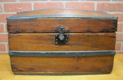 Antique Dome Hump Top Trunk Steamer Wooden Chest Childs Doll Smaller Size