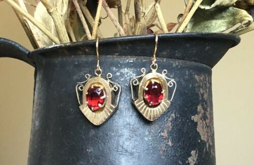 Antique Victorian Garnet Claw Prong Gold Filled Earrings Dangle Etruscan
