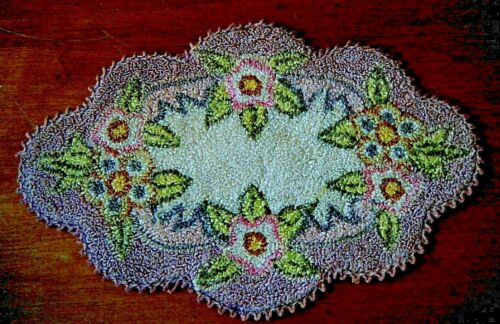 Old Antique rug doily silk hooked Chinese desert roses flower